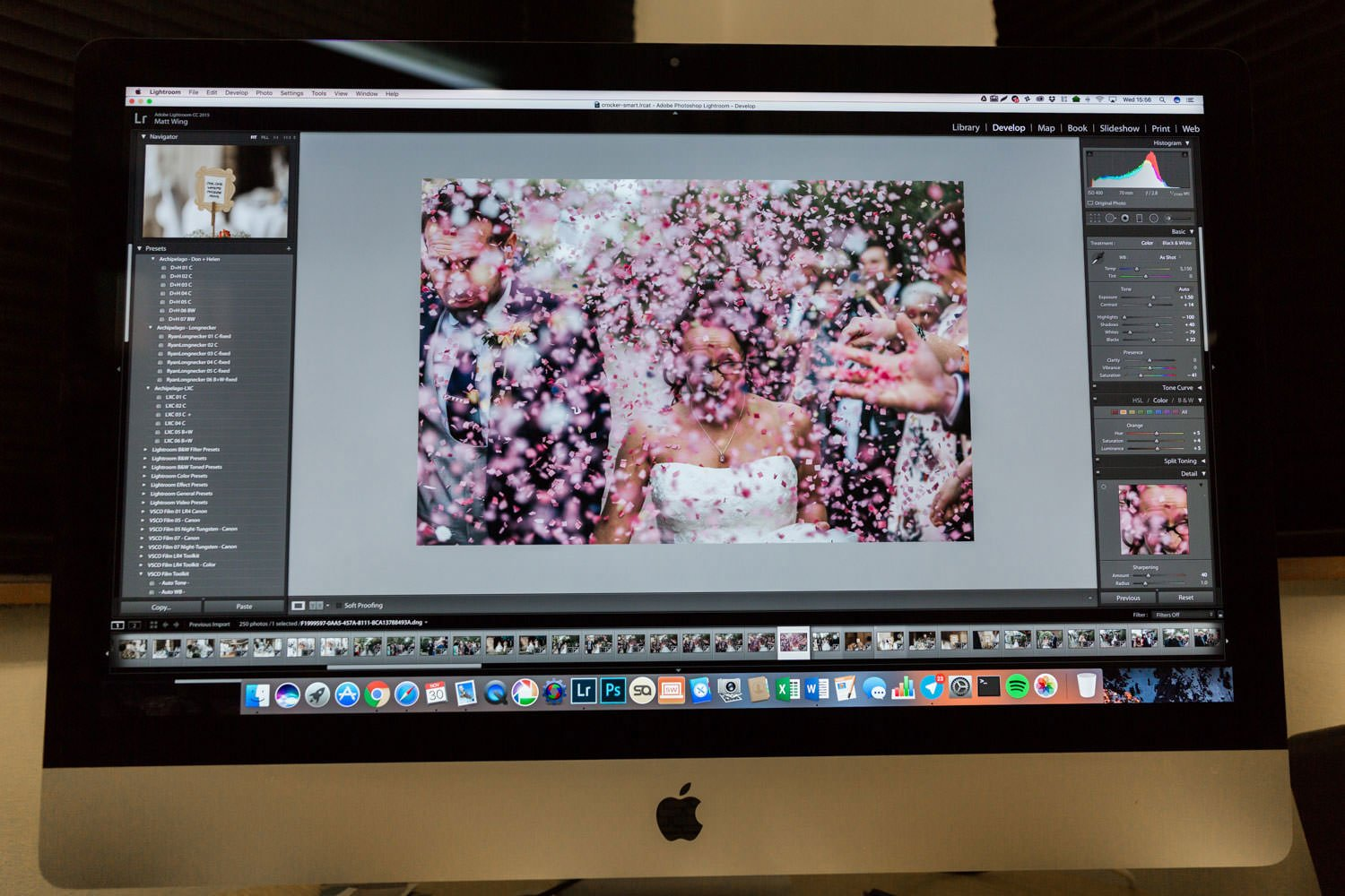 mac screen midway through a wedding edit