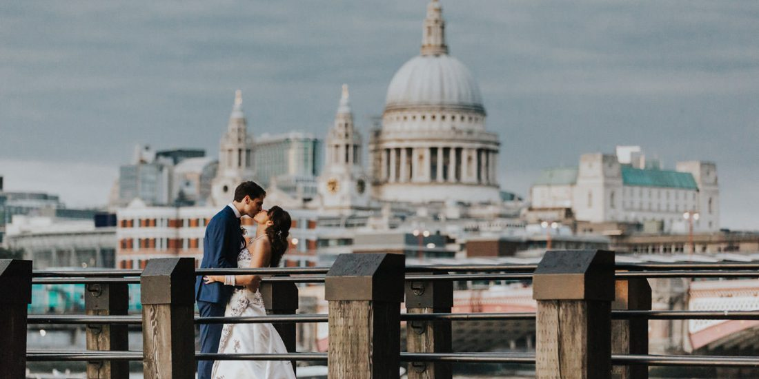 kiss at OXO2 Wedding London