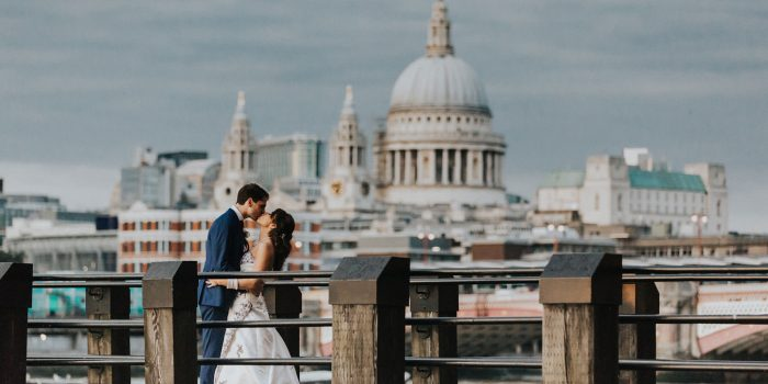 kiss at OXO2 Wedding London